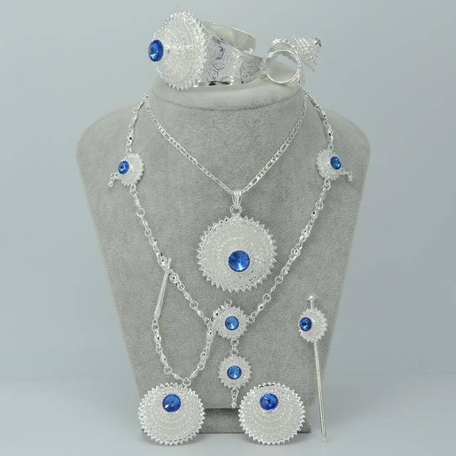 Etíope de prata conjuntos de Jóias W/Blue Stone, Prata Banhado Habesha África Eritreia Testa Cadeia Pedaço de Cabelo de Casamento Da Noiva #000617