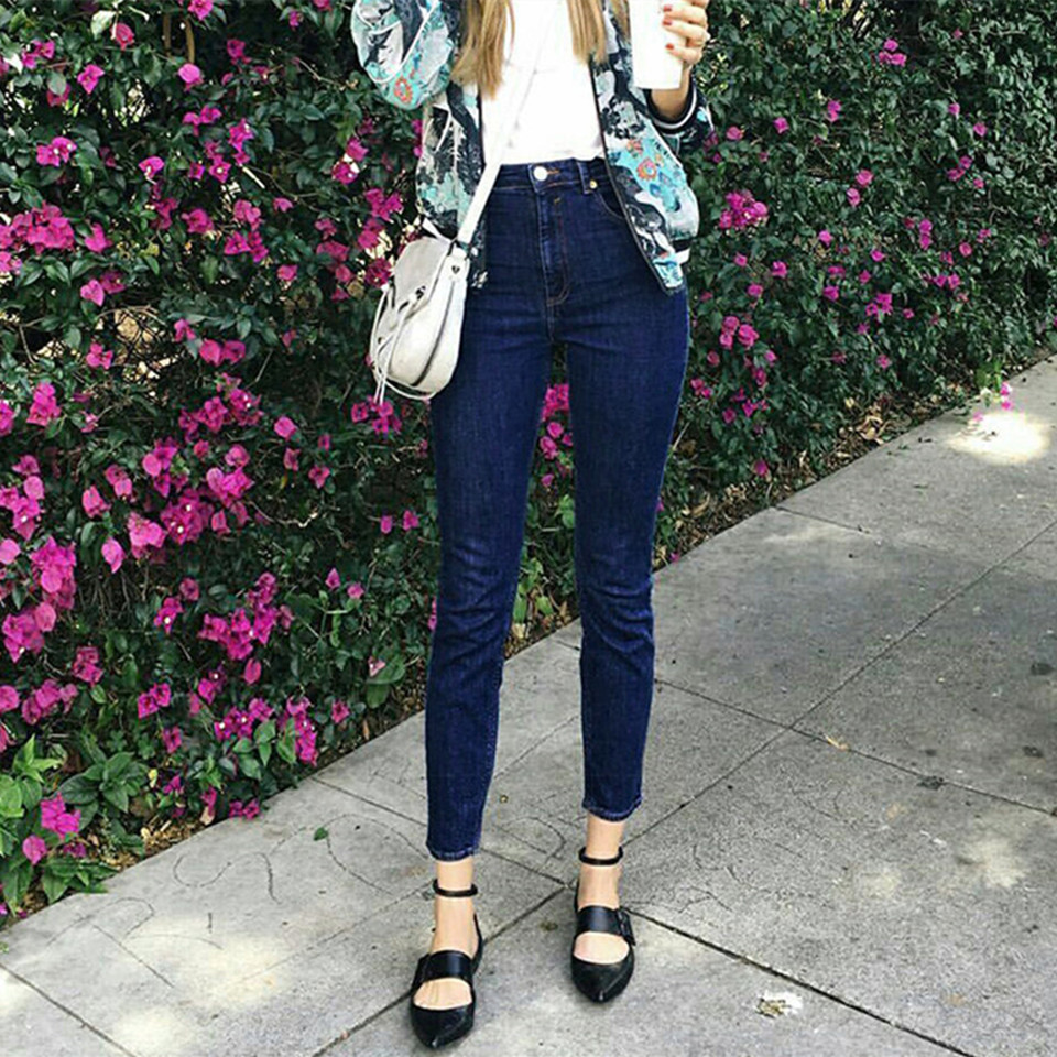 ФОТО New Arrival Fashion Women Jeans Plus Size Vintage Pants Street Beat Deep Blue Casual Jeans Elastic Slim Pants Feet B51