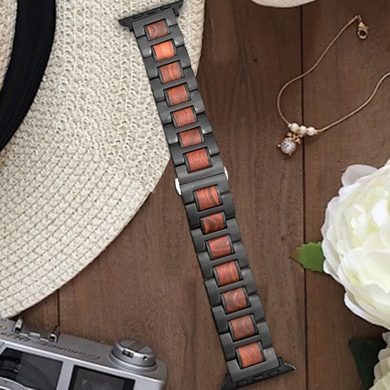 For Apple Series 4 Natural Wood Metal Steel Watch Strap Band For Apple Watch Series 1
