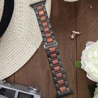 For Apple Series 4 Natural Wood+Metal Steel Watch Strap Band For Apple Watch Series 1 2 3 38mm 42mm 40mm 44mm iWatch Watchbands