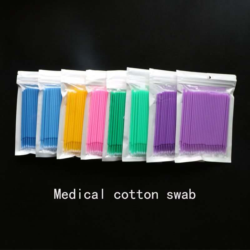 10*100pcs Semi Permanent Embroidery Cotton Swabs Micro Brush Swab Lint Tattoo Disposable Eyelash Extension Individual Applicator