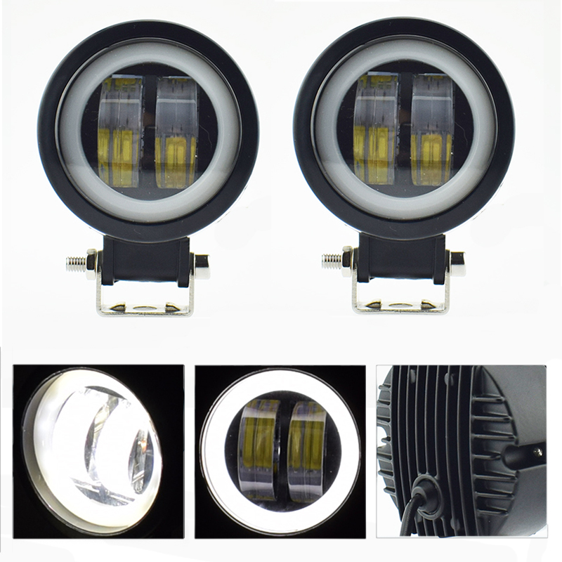 Motorcycle Headlights 12v 20w Motorbike Work Light LED Moto Spotlights Angel Eyes Light Fog Spot Lamp Car Accessories Headlamp