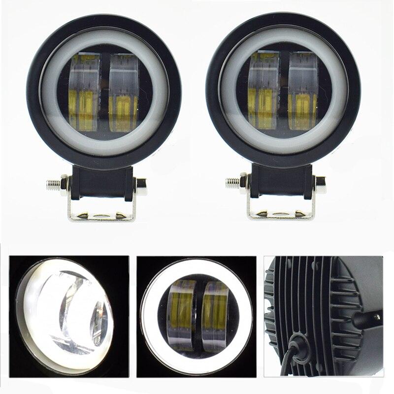 Motorcycle headlights 12v 20w motorbike Work Light LED Moto spotlights Angel Eyes Light fog Spot lamp car accessories headlamp