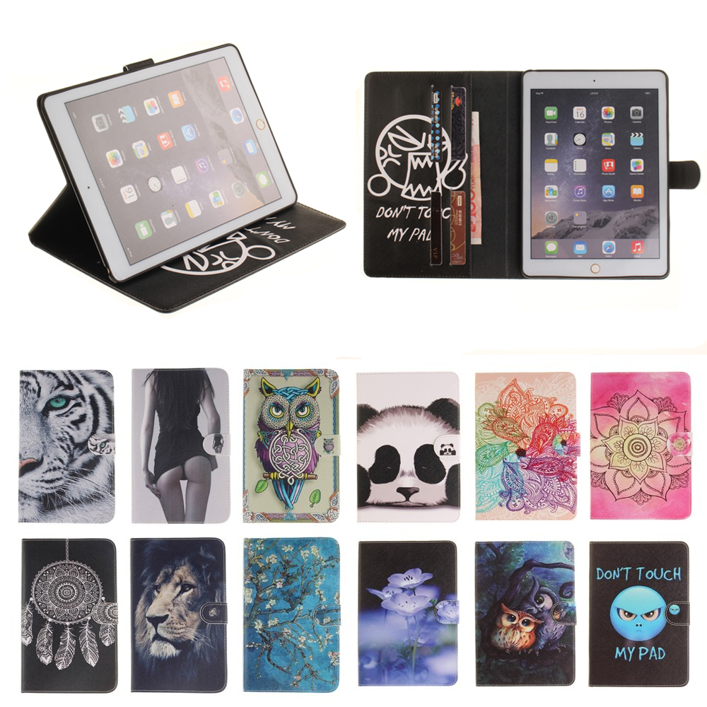 Panda Tiger Van Gogh Print PU Leather Case For Apple iPad Air 2 Case Folio Stand Skin Cover For Apple iPad 6 ipad6 Tablet Sleeve