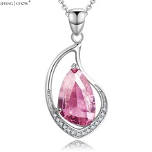 2016 Summer Fashion Luxury Jewelry Pink Kunzite stones 925 Sterling Silver Pendant for font b women