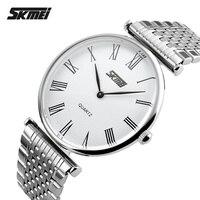 Skmei Vrouwen Horloges Topmerk Luxe Full Staal Analoge Quartz Horloge Ultra Dunne mannen Horloges montre relojes hombre 2017