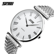Skmei relojes de las mujeres top marca de lujo de acero lleno de cuarzo analógico reloj ultra delgado de los hombres relojes montre relojes hombre 2017