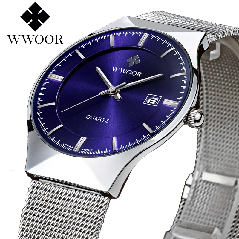 Super Slim Mens Quartz Watch WWOOR Business Top Brand Stainless Steel Analog Blue Wristwatch Luxury Date 50m Waterproof Clock цена и фото