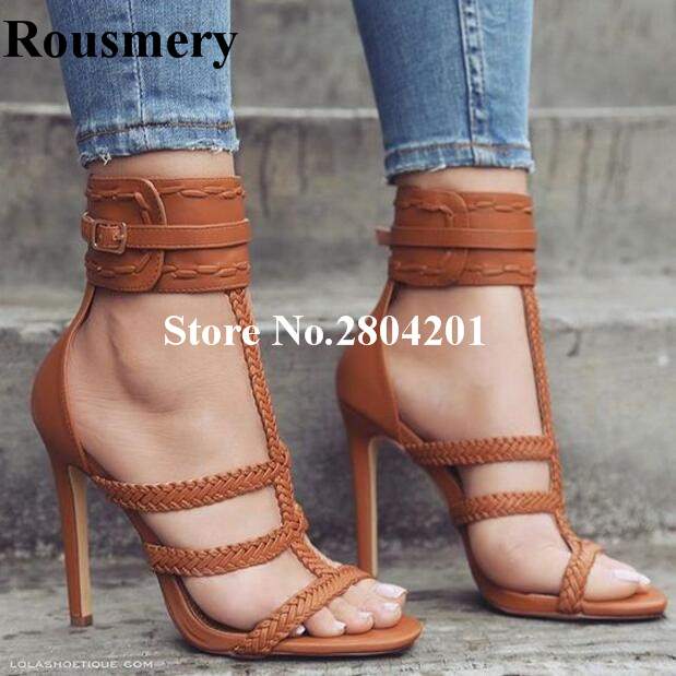 Rousmery Fashion Rope Weave T-Strap Buckle Strap High Heel Open Toe Solid Gladiator Casual Dress Summer Strappy Sandals Women stylish spaghetti strap solid color open back women s beach dress