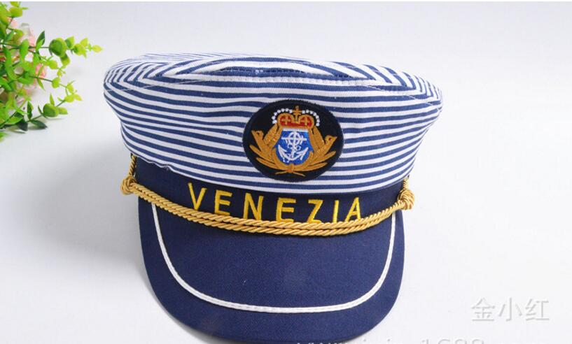 Letter Navy Cap Blue Horizontal Stripes Men and Women Captain Hat Army Stage Parenting Venezia Style Sailor Hat Adult and Kids in Women 39 s Baseball Caps from Apparel Accessories