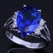 Splendid Pear Blue Cubic Zirconia White CZ 925 Sterling Silver Ring For Women V0631