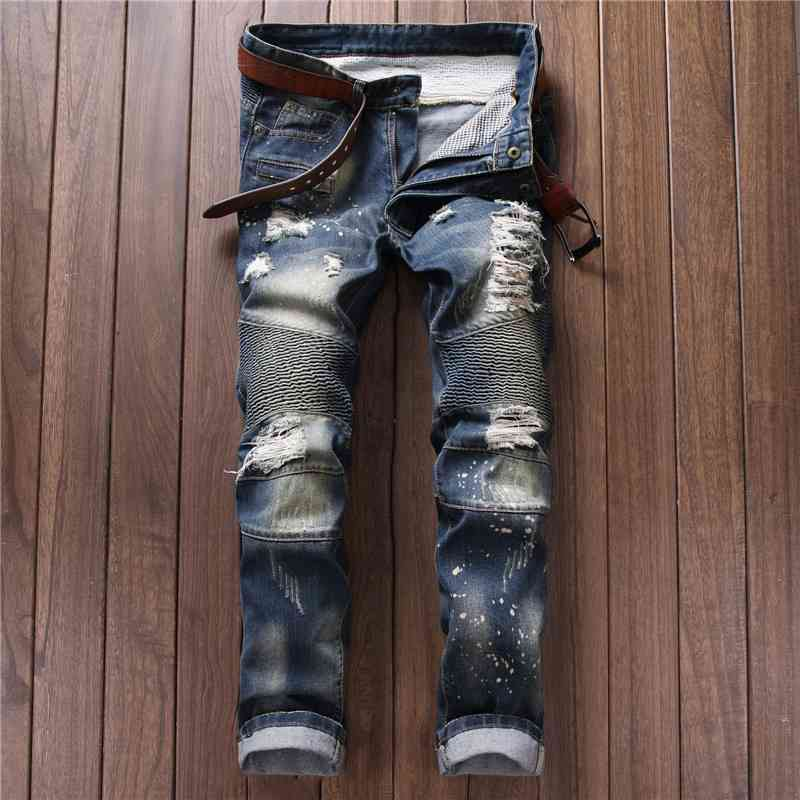 #2768 2016 Straight ripped jeans for men Famous brand Skinny Fashion Mens biker jeans Distressed jeans Punk Denim pants
