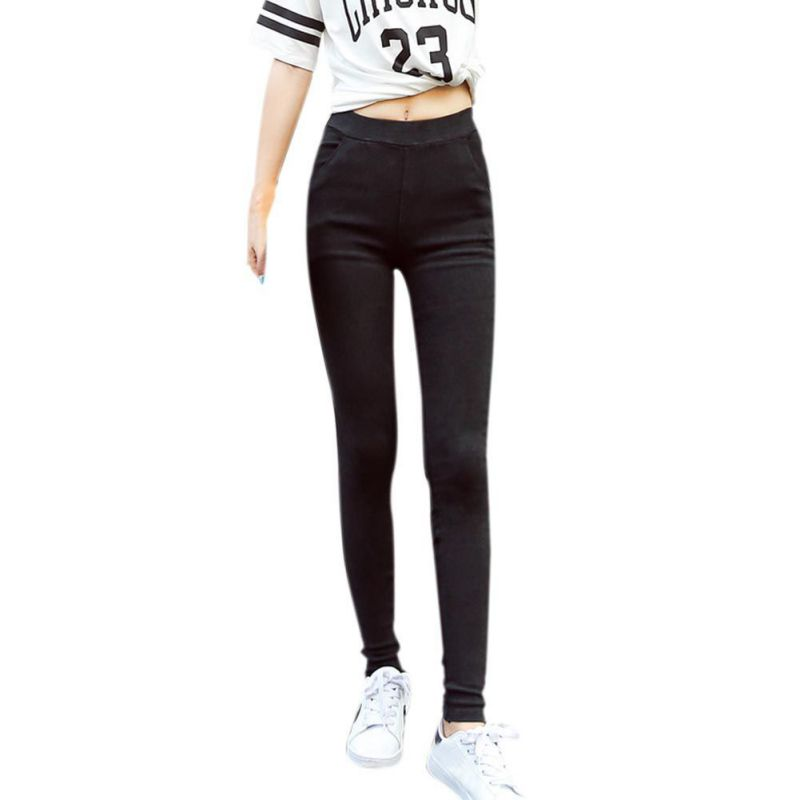 Slim Jeans Skinny High Waist Jeans Fit Woman Blue Denim Pencil Pants Stretch Waist Jeans Black Pants Feminina fashion europe style printed jeans men denim jeans slim black painted pencil pants long trousers tight fit casual pattern pants