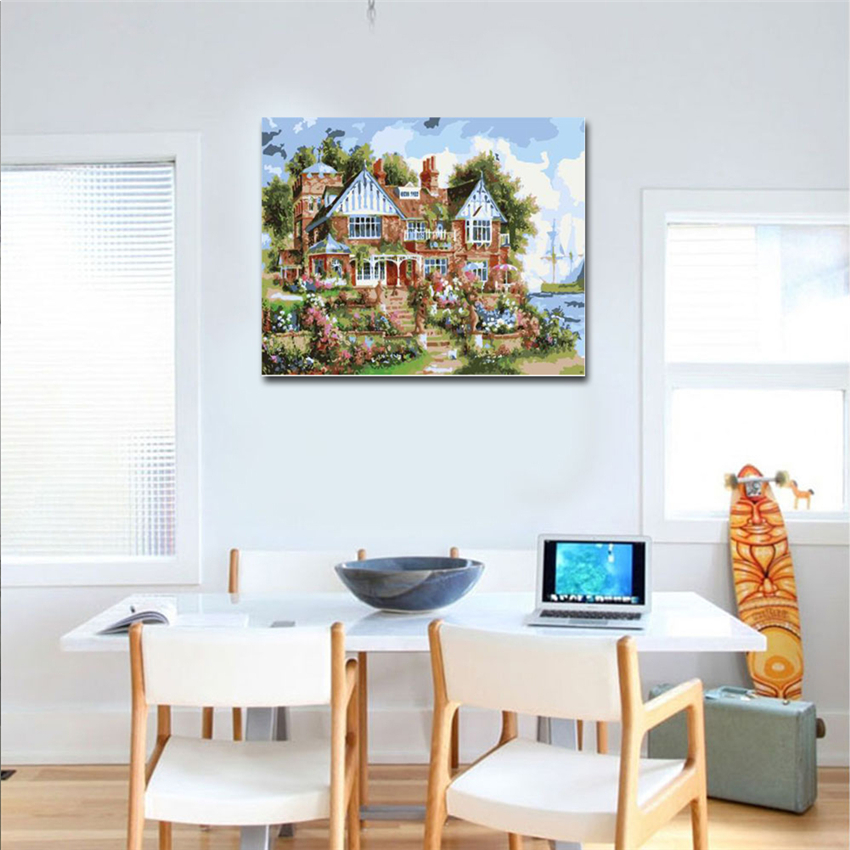 RIHE Peaceful Villa Drawing By Numbers DIY Quite Scenery Painting Handwork On Canvas Oil Painting Art Coloring Home Decor in Painting Calligraphy from Home Garden