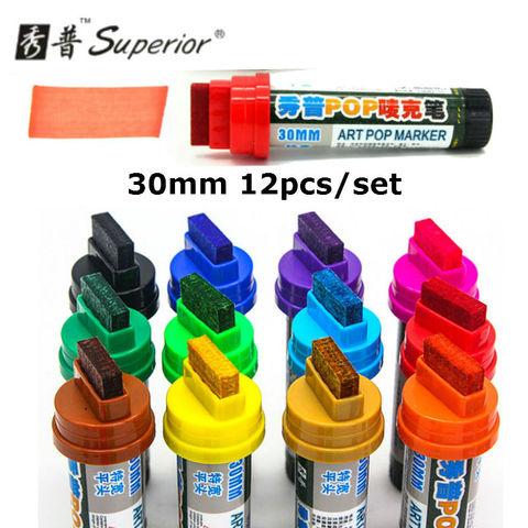 12 pcs set superior 30mm mao pintado pop caneta oleo caneta publicidade caneta cartaz free
