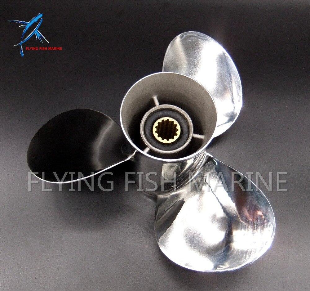 11 1/8x13-G acier Inoxydable hélice pour Yamaha 40hp 50hp Moteur Hors-Bord 11 1/8x13-G