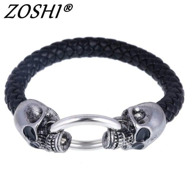 Hot Silver Stainless Steel Skull Bracelets Weave leather bracelet & Bangle Punk jewelry Wholesale Bracelets For Man Woman