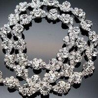 1 Yard AAA Grade Crystal Clear Round Glass Rhinestone Cup Chain Silver Base Dress Decoration Trim