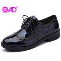 GAD High Quality Patent Leather Glossy Women Shoes New Style Fashion Carved Lace Up Women Oxford
