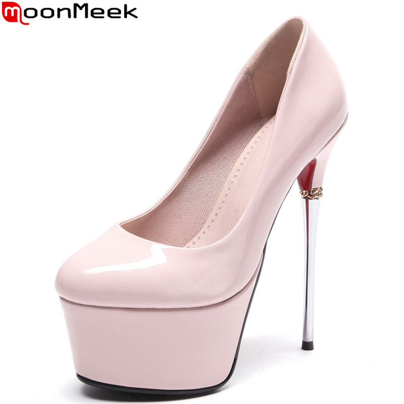 MoonMeek sexy female fashion platform pumps round toe thin heels slip on extreme high heel party wedding shoes pink woman shoes 2018 fashion women round toe height platform extreme high heels shoes 16cm snake sexy pumps nightclub evening party