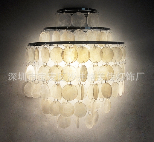 European Nordic Natural Shell wall lamp Ornaments Bedroom Bedside Lamp  W38 H40CM