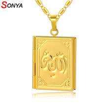 SONYA Small Size New Brand DIY Photo Box Locket Necklaces For Women/Girl,Allah Pendant Muslim Islamic Jewelry Gift(China)