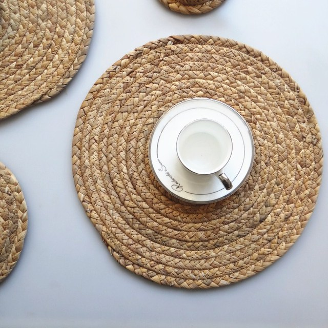 Kitchen Table Mat Round Placemat Drink Coasters Natural Straw Placemats Cup Coaster Accessories Decoration Home