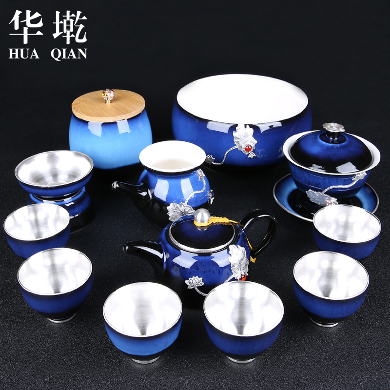 Ceramic Kungfu Teaware Set Household Kiln Transformed Into Calendula Cup Of Chinese Style 999 Silver Teapot Cover Bowl