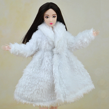 Doll Accessories Winter Warm Wear White Fur Coat Dress Clothes For Barbie Dolls Fur Doll Clothing For 1/6 BJD Doll Kids Toy
