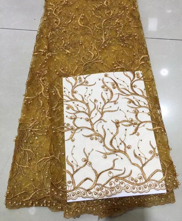 Новые весенние Высокое качество Нигерия дизайн Африканский жемчуг французский Тюль Свадебные кружевной ткани 5 ярдов