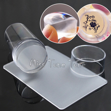 Cabeza grande 2.8 cm Suave Silicona Jelly Transparente Tarjeta Nail Stamping Tool Stamper Scraper Malvavisco Transparente Sello Tapa de La Cubierta