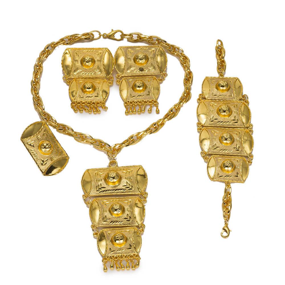 MUKUN Dubai Big schmuck Indischen Schmuck-Set Mode Halsketten Armband Ohrringe Sets Für Frauen Kleid Nigeria Braut Zubehör