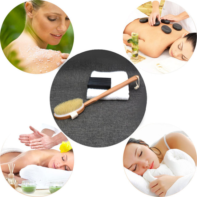 New 1Pc Qualified Shower Brush Natural Long Wooden Bristle Massager Bath Shower Back Spa Detachable Scrubber 4
