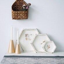 Bandeja hexagonal de madera Sweetgo, bandeja de estilo blanco Vintage hecha a mano para cupcakes, Decoración de mesa, postres, maquillaje, joyería, soporte, bandejas para anillos