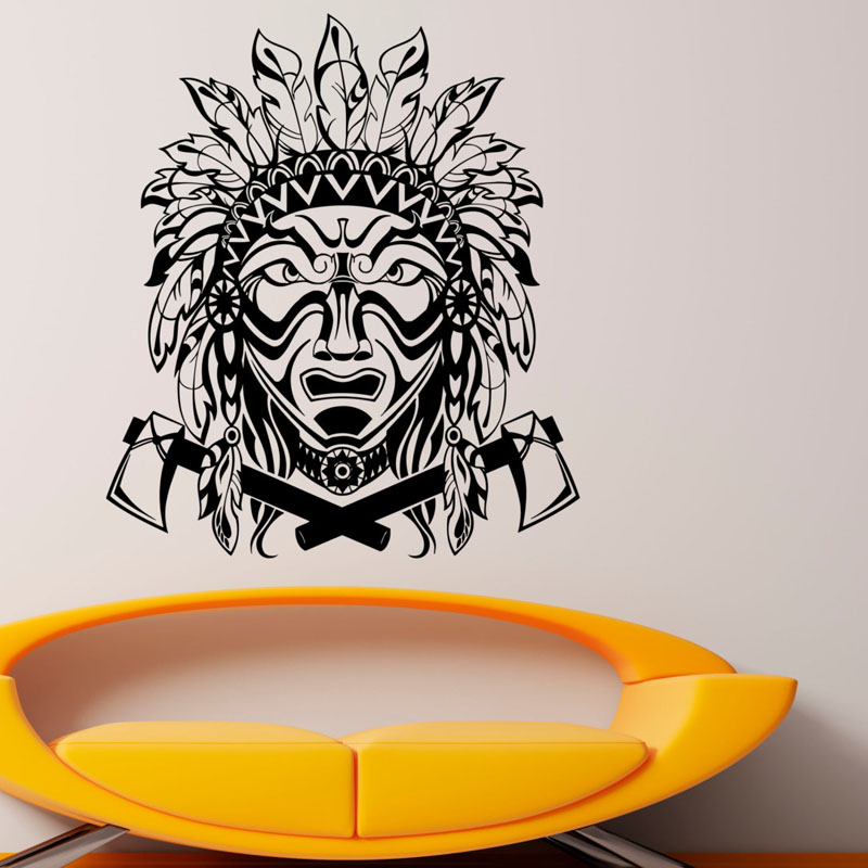 Dctop Feathers Wall Stickers Native American Indian Vinyl Art Living Room Wall Stickers Home Decor Decal