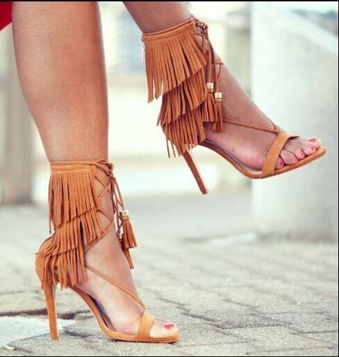 Summer 2017 Hot New Fashion Women Sexy Brown Gray Color Gladiator Rome Fringed Tassel Lace Up Stiletto Heels Party Sandals