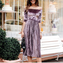 Women's Elegant Pleated Velvet Casual Dress