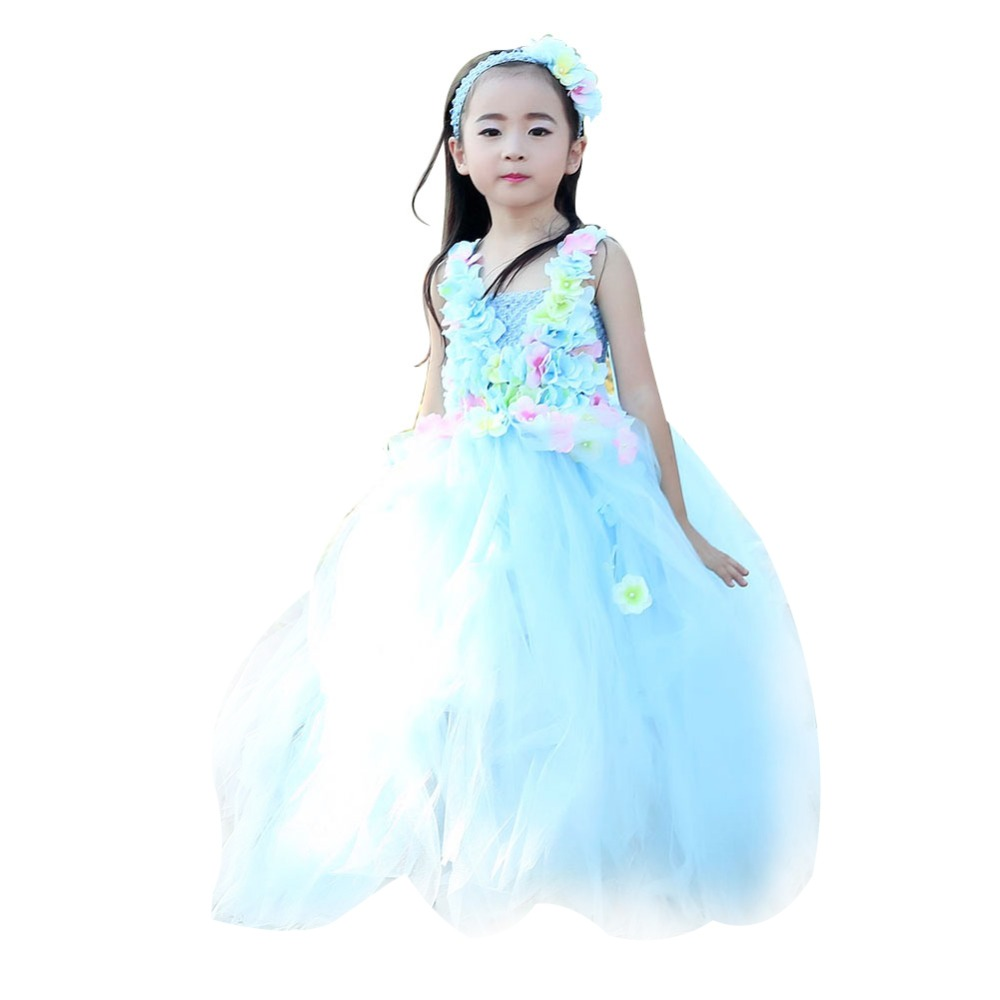 Hydrangea Ankle Length Toddler Girl Wedding Party Dress Blue Princess Flower Girls Clothes Kids for Weddings