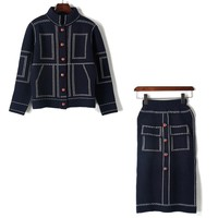 17 New Winter Custom Bee Buttons Suture Fake Pocket Thick Knitted Cardigan High Waist Knitting Skirt