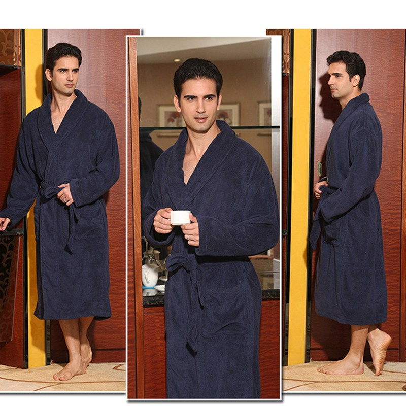 Hiver hommes peignoir coton épaissir grande taille XL jolie chaude longue douce hommes robe chemise de nuit couverture serviette polaire maison hôtel robe - 5