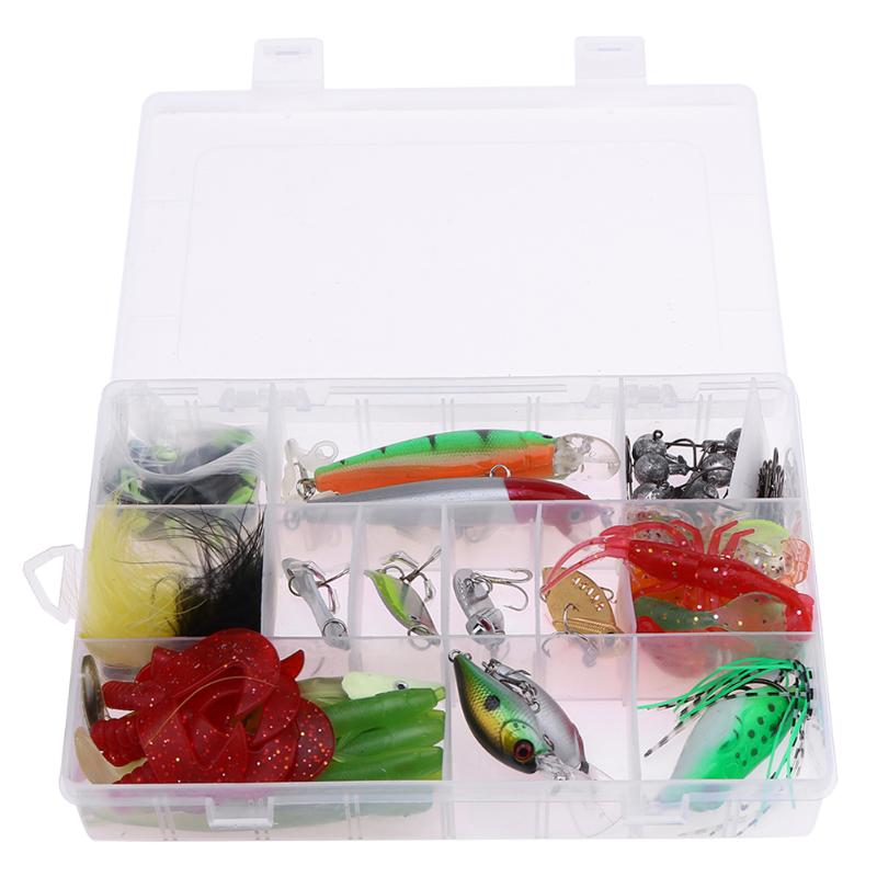 66Pcs/set Multi Fishing Lure Kit Mixed Colors Feather+Spoon+Soft Plastic Bait Crankbait Bait Pesca Jig Fishing Hook Set With Box goture 96pcs fishing lure kit minnow popper spinner jig heads offset worms hook swivels metal spoon with fishing tackle box