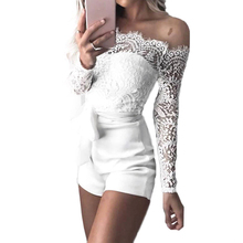 Women Summer Off Shoulder Sexy Playsuits Bodysuit Long Sleeve Sheer Lace Patchwork Hollow Bandage Skinny Playsuits Rompers black off shoulder long sleeves lace detail playsuits