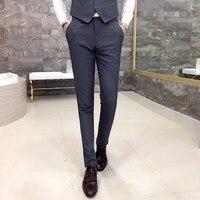 Cor sólida de algodão dos homens de alta qualidade calça casual 2017 novo cavalheiro negócio estilo Britânico Magro foi finas calças pretas cinza