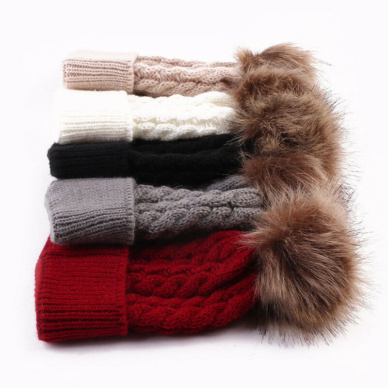 2019 New Fashion Women  Knit Pom Bobble Hat Winter Warm Beanie Caps  Bobble Hat Crochet Cap