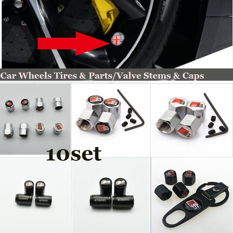 Best quality 10set car wheel tire valve stem cap For AUDI A1 A2 A3 A4 A5 A6 A7 A8 Q1 Q3 Q5 Q7 S logo badge Covers