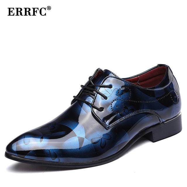 Wedding Shoes Size 12 | Errfc Fashion Blue Men Wedding Shoes Pointed Toe Pu Leather Shoes