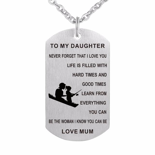 Zmzy mum to daughter dog tag i love you stainless steel pendants zmzy mum to daughter dog tag i love you stainless steel pendants custom military necklaces jewelry mozeypictures Image collections