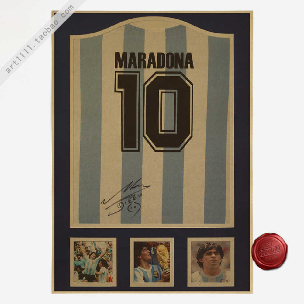 Maradona 10 Vintage Football Poster Home Decoration Detailed Antique Poster Wall Chart Retro Matte Kraft Paper Wall Sticker