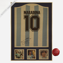 Maradona 10 Vintage Football Poster Home Decoration Detailed Antique Poster Wall Chart Retro Matte Kraft Paper Wall Sticker(China)