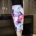 Mulheres 2016 F/W Moda Saia Cintura Alta Pintura Rosa Flor lápis Meados Bodycon Saia OL Saia Plus Size Frete Grátis S-3XL